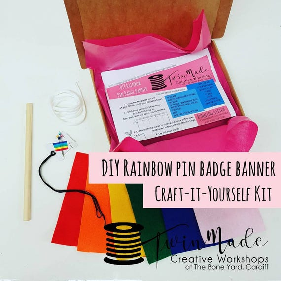 Diy rainbow pin badge banner kit perfect to display pin like this item solutioingenieria Image collections