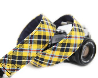 Yellow Check Camera Strap - Yellow and Blue plaid - The Harvard