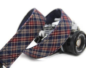 Blue and Red Check Camera Strap - Blue plaid - The Harold
