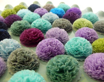 Button Mums Tissue Small Paper Flowers Wedding, Bridal Shower, Baby Shower Decor Teal, Green, Purple, Grey, Blue, Mermaid Party