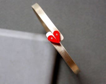 Love Bracelet, Sterling Silver Adjustable Bracelet with red Plexi Heart, Contemporary Jewelry
