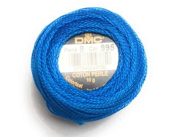 DMC 995 Perle Cotton Thread |Size 8 | Dark Electric Blue