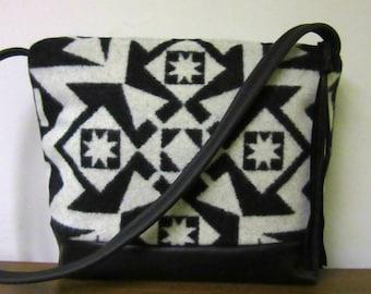 Wool Cross Body Bag Purse Shoulder Bag Soft Black Leather Blanket Wool from Pendleton Oregon