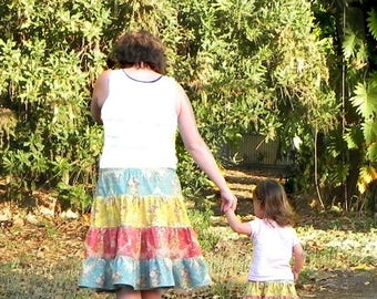 SALE Skirt Pattern for mommy and me 4-tiered Skirts for 3m through 16 Ladies PDF Instant