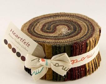 "Moda Heartfelt Jelly Roll 2.5"" Precut Fabric Quilting Cotton Strips Kansas Troubles 9470JR"