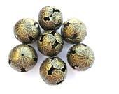 6 BEADS, metal beads, Antique bronze bead ball beads 20mm flower ornament