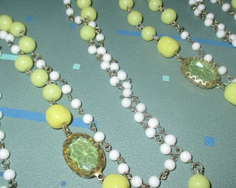 Vintage FAB Yellow and White Glass Bead Long Necklace