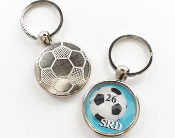 Soccer Ball Keychain Sports Team Coach Gift initials number custom name personalized logo photo mom dad grandpa grandma fathers day