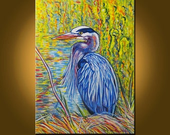Great Blue Heron -- 22 x 30 inch Original Oil Painting by Elizabeth Graf -- Art Painting, Art & Collectibles