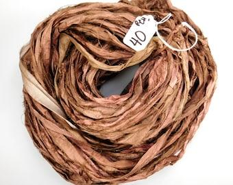 Silk Sari Ribbon, recycled sari ribbon, Sari Silk Ribbon, Sari ribbon, brown sari ribbon, tassel supply, knitting supply, rug supply