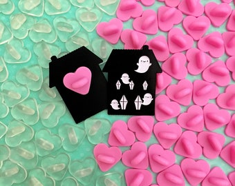 Rubber Heart Pin Backs - Your Choice of Pink or Clear - Packs of 5 or 10 - Mix n Match