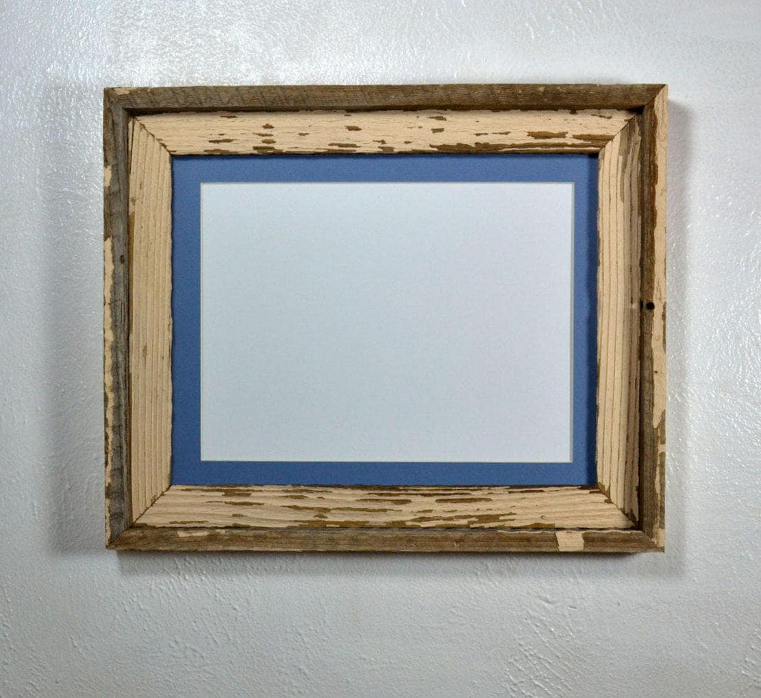 Shabby Chic Reclaimed Wood Picture Frame 9x12 Light Blue