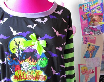 Halloween sweater, gothic longsleeve shirt oversize pullover size XL extra large plus size 2X