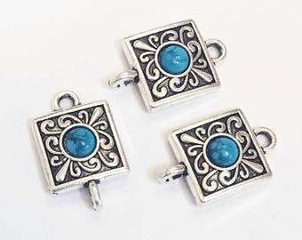 Bulk 30 antique Silver Turquoise connector 22x13mm , bulk antique silver connector