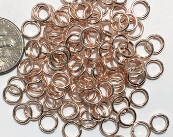450 pcs of Rose gold plated steel jumprings 6mm, 16 gauge, open jumprings, light rose gold jumprings, bulk rose gold jump rings