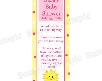 30 Personalized Bookmarks for Baby Shower - PINK You Are My Sunshine Baby Shower- Sunshine Baby Shower - Sunshine Bookmark - Bookmark Favors