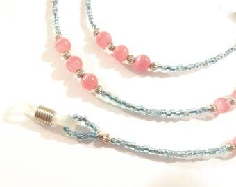 Pink and Blue Beaded Eyeglass Chain
