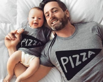 FREE SHIPPING - Father's Day gift - Pizza Shirt Set - Father Son matching shirts - dad matching - mens tshirt - dad gift from kid, dad baby
