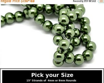 "40% Retirement Closeout - Pick Your Size, Alpine Green, Glass Pearl, 4mm or 8mm Glossy Round, 15"" Strand, 8GL14-2357"