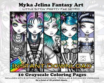 Grayscale Set 10 - Cute Fae - Printable Coloring Book - Myka Jelina Art - Fairy Coloring - Instant Download - Gothic Fairy - Sittin Pretty
