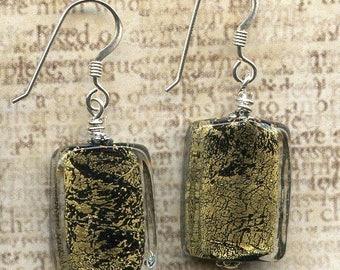 Black and GoldMetallic Rectangular Glass Beads  Sterling Silver Earrings