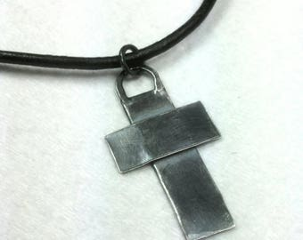 Mens Cross Necklace, Rustic Cross Necklace, Black Leather Necklace, Handmade Sterling Silver Cross Pendant, Faith Maggie McMane Designs
