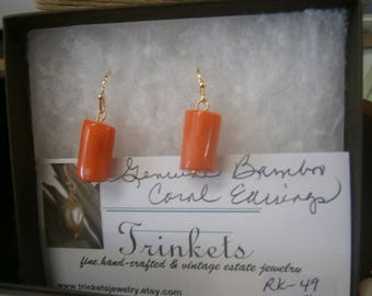 Genuine Orange Bamboo Coral Earrings; 18K Gold-Plated Ear Wires; Orange Coral