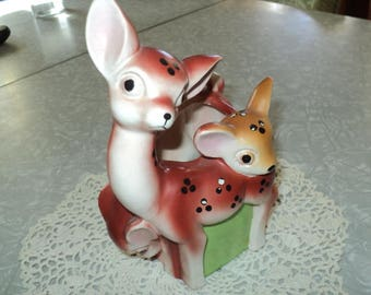 Vintage Mother Deer and Two Fawns--Made in Japan Planter