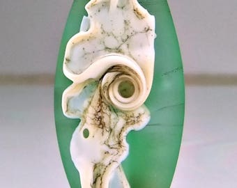 Etched Green Silvered Ivory Organic Lampwork Focal Bead