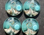 Lampwork Small Focals Sprees (4) Watery Wave w/teal murrine
