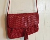 Vintage 80s Red Braided Leather Crossbody Clutch Purse