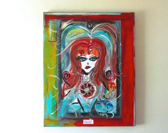 Girl mixed media acrylic painting on canvas, warrior series, the power enlightened, red, blue, spirals
