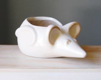 Vintage 70s David Stewart Pottery Rat Planter Lions Valley Stoneware Brown Ceramic Pottery Mouse Rodent