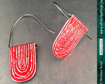 Etch Red Arch Dangles--Upcycled Tin Earrings