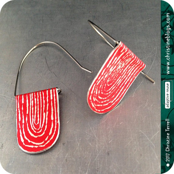 Etche Red Arched Earrings Upcycled Tin Jewelry