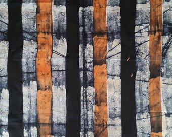 African Batik, Striped Batik Fabric, Indigo, Orange and White stripes, Adire, African fabric bundle, Hand-dyed fabric, 2.4 Yrds, Batik