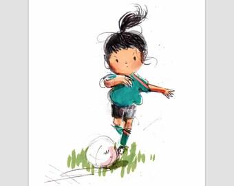 Soccer girl giclee print, illustration, wall art