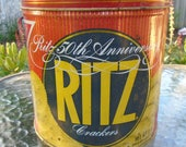 Vintage 50th Anniversary Nabisco Ritz cracker tin from 1984 / vintage cracker tin