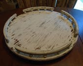 Heavy solid wood distressed white tabletop lazy susan / turntable with pedestal rails 22 inches across