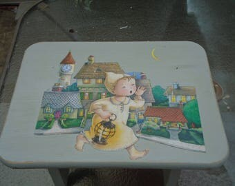 Child's boys step stool for kitchen / bathroom / bedroom in Wee Willie Winkle by Mary Engelbreit in gray with decopaged Mother Goose picture