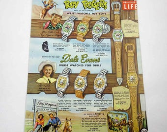 Vintage 1950s Catalog Page with Roy Rogers Cowboy Dale Evans Superman Tom Corbett Space Cadet and Rocky Jones Space Ranger Watches Watch