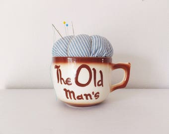 Old Man & the Sea Pincushion Vintage Teacup Pincushion Man's Sewing Accessory Tea Cup Pin Cushion Teacup Pincushion Sailor's Gift Dad Gift
