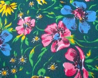 fabric 1960s / green vintage European fabric / original 60s / flower / skirt / dress / stretch