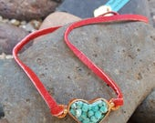 Turquoise Heart Necklace  -  Blue Green Turquoise - Choker - Rustic Copper Heart - Red Leather - Cowgirl Jewelry