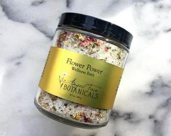 Flower Power Wellness Bath, Organic Bath Salts, Pink Himalayan Salt Bath, Bath Tea, Essential Oil Bath, Salt Soak, Sea Mineral Bath 8.5 oz
