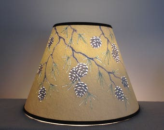 Paper lamp shade etsy cut and pierced pine cone branch paper lamp shade lampshade pine cones rustic aloadofball Choice Image