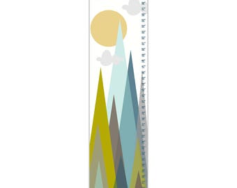 Custom Canvas Growth Chart - Be Brave Mountains - Blue, Green, Brown