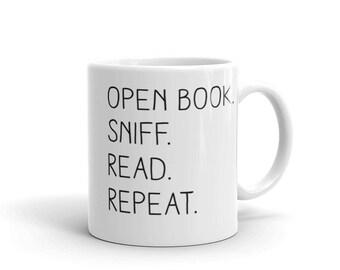 "Open Book. Sniff. Read. Repeat."" - Mug - Bookish Merch - Frostbeard Studio"