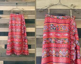 Vintage Maxi Skirt | Red Print Skirt | Boho Skirt | Wrap Skirt | Gypsy Skirt | 1970s Skirt | 70s Skirt | Peasant Skirt | Prairie Skirt