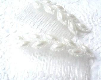 CLEARANCE - Ivory haircombs, vintage beaded haircombs, leaf haircombs, hair accessory, womens accessory